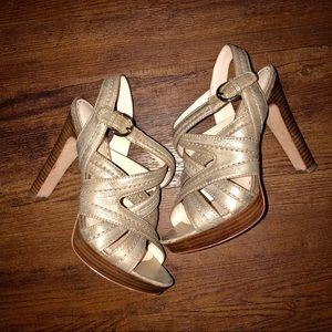 Coach Gold Leather Brynne Strappy Heels Sandals